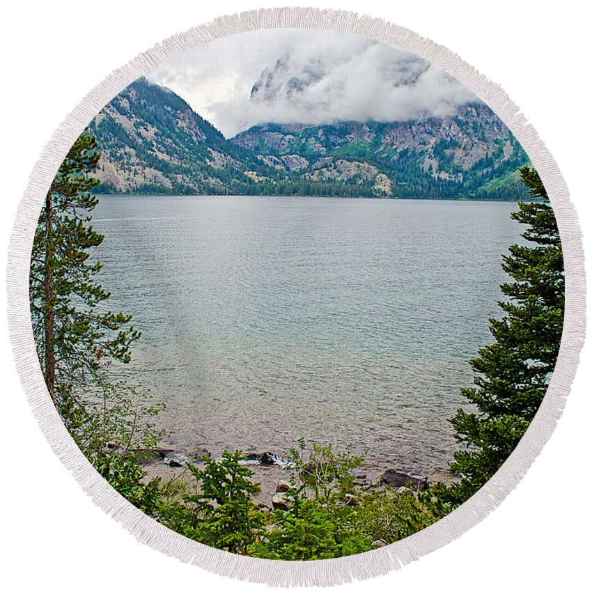 Jenny Lake In Grand Teton National Park Round Beach Towel featuring the photograph Jenny Lake In Grand Tetons National Park-wyoming by Ruth Hager