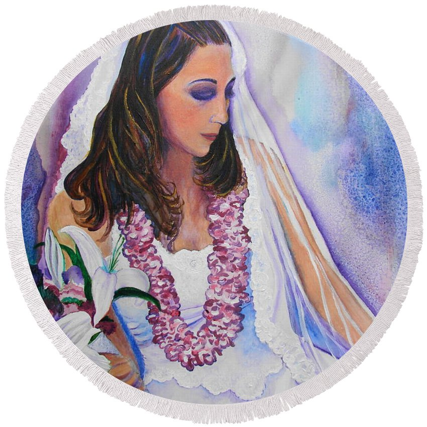 Bride Round Beach Towel featuring the painting Jenny by Margaret Bobb