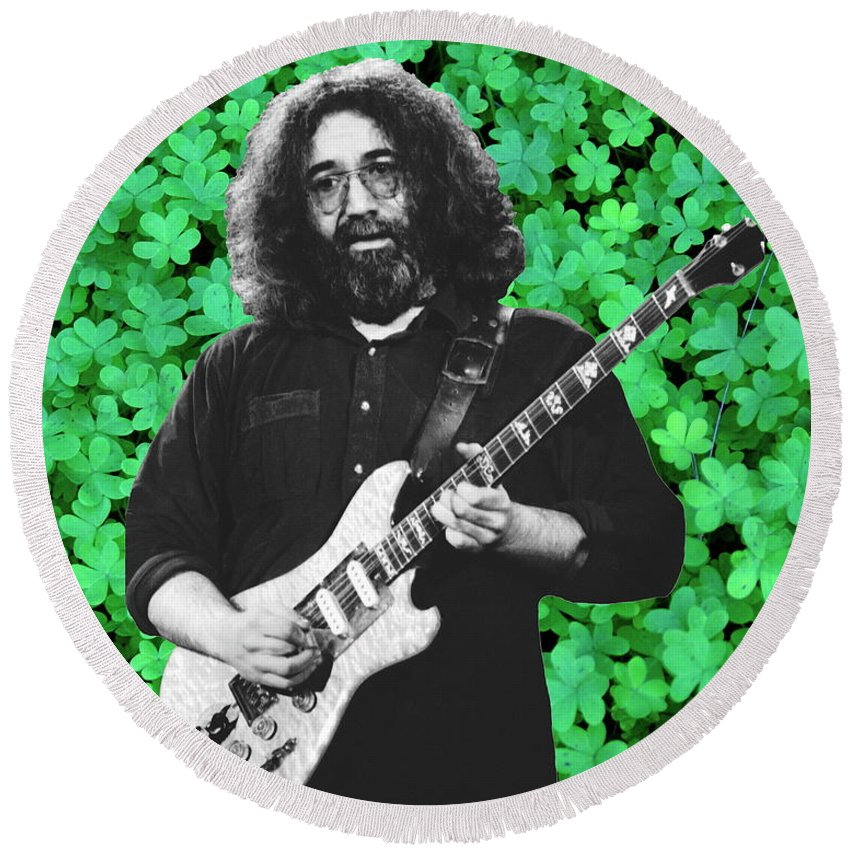 Jerry Garcia Round Beach Towel featuring the photograph Jerry Clover 4 by Ben Upham