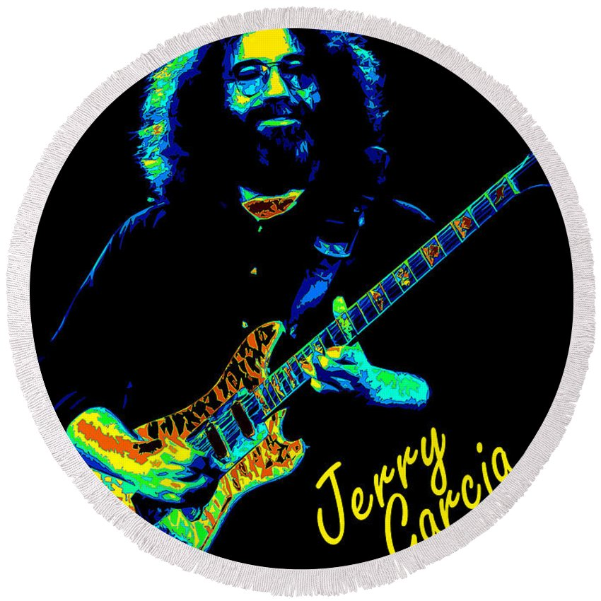 Jerry Garcia Round Beach Towel featuring the photograph J G 1977 by Ben Upham