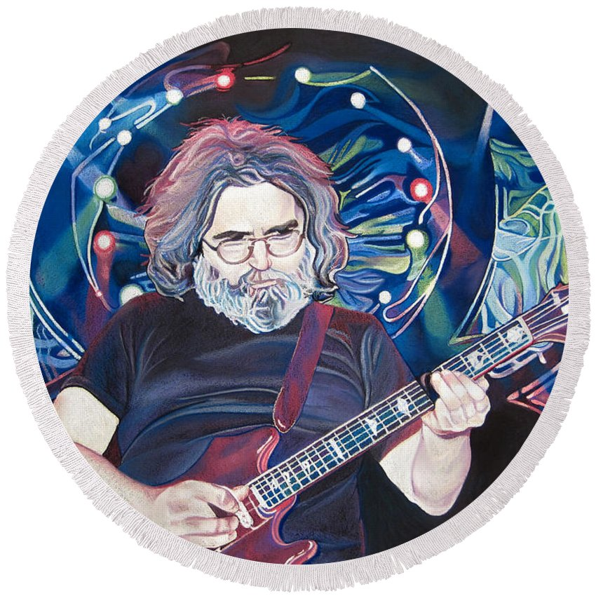 Jerry Garcia Round Beach Towel featuring the drawing Jerry Garcia And Lights by Joshua Morton