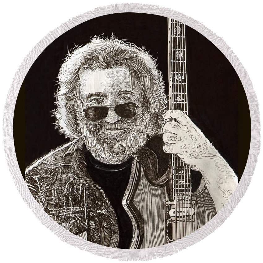Thank You For Buying A 72 X 48 Canvas Print Of Jerome John Jerry Garcia Who Was An American Musician Who Was Best Known For His Lead Guitar Work Round Beach Towel featuring the drawing Jerry Garcia String Beard Guitar by Jack Pumphrey