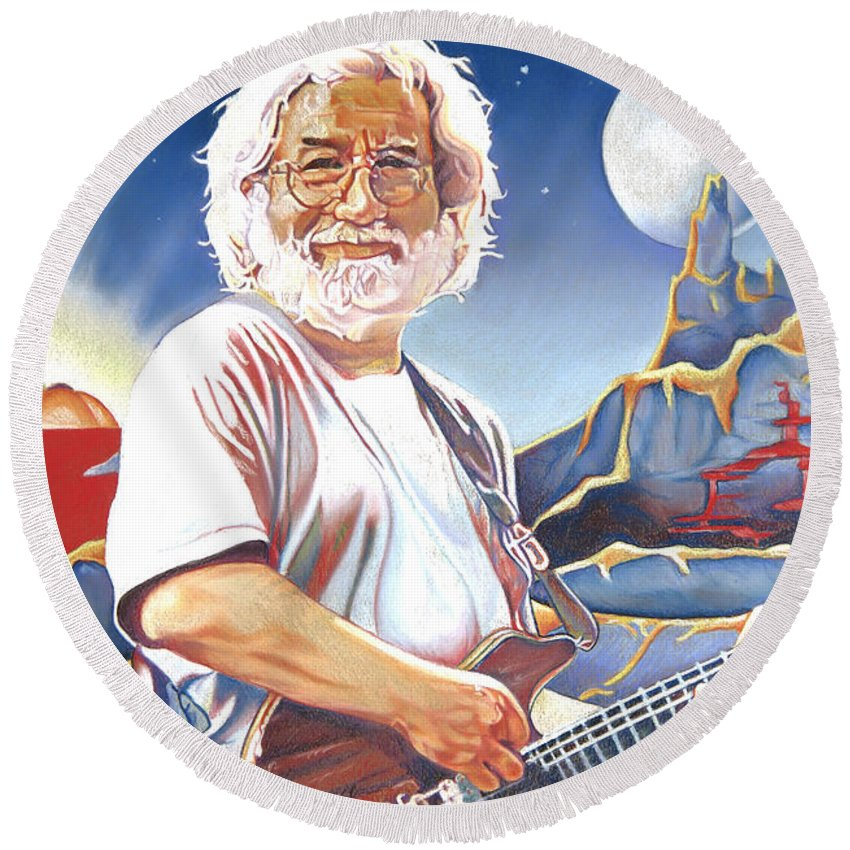 Jerry Garcia Round Beach Towel featuring the drawing Jerry Garcia Live At The Mars Hotel by Joshua Morton