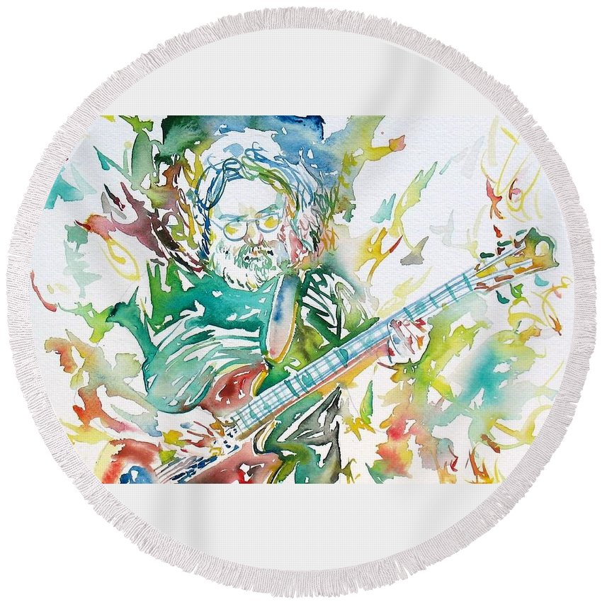 Jerry Round Beach Towel featuring the painting Jerry Garcia Playing The Guitar Watercolor Portrait.1 by Fabrizio Cassetta