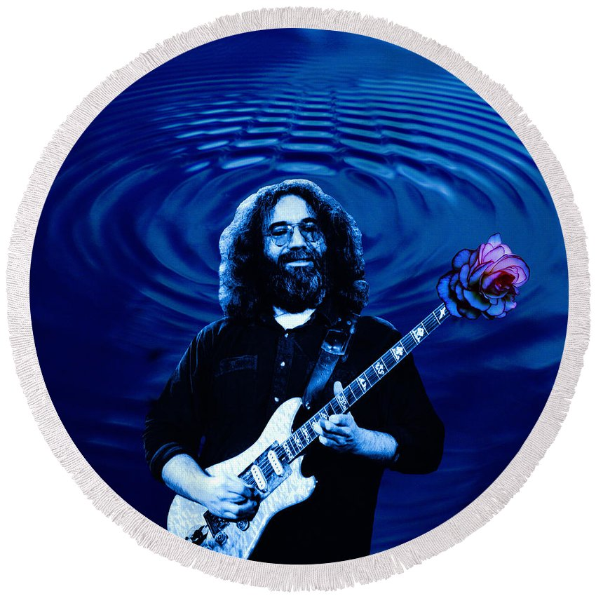 Grateful Dead Round Beach Towel featuring the photograph Blue Ripple Rose by Ben Upham