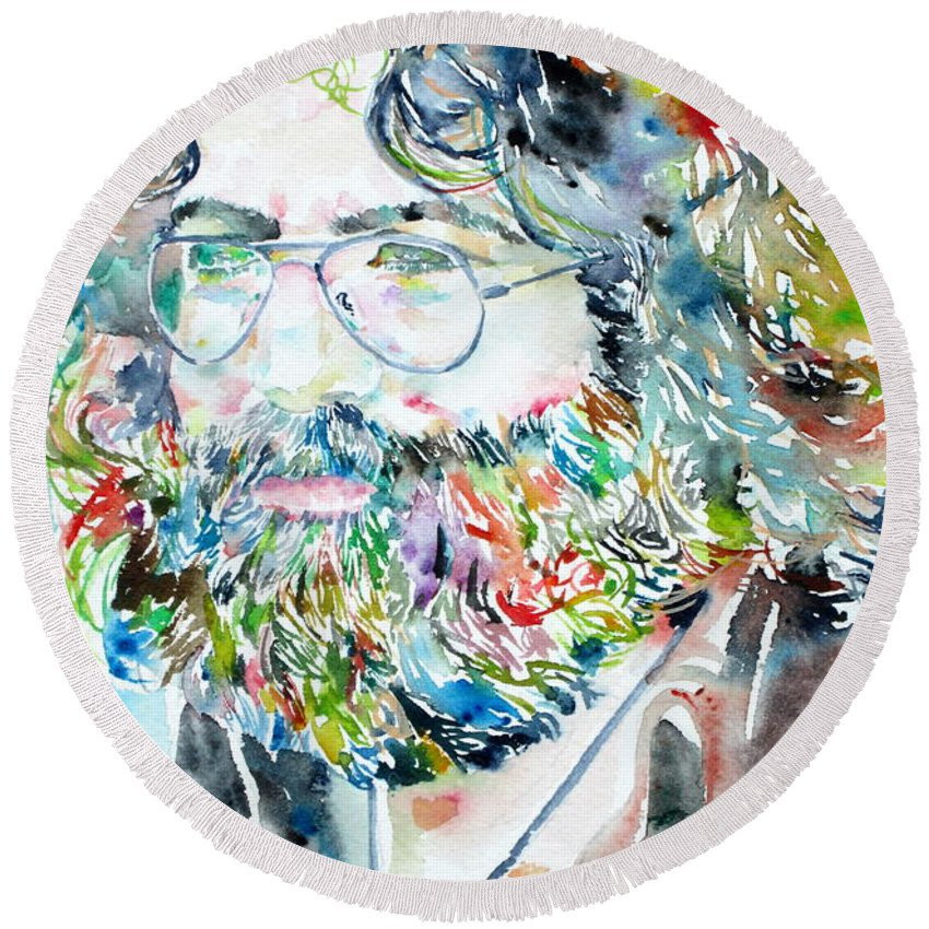Jerry Round Beach Towel featuring the painting Jerry Garcia Watercolor Portrait.2 by Fabrizio Cassetta