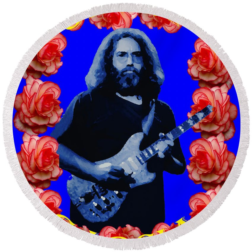 Jerry Garcia Round Beach Towel featuring the photograph Jerry In Blue With Rose Frame by Ben Upham