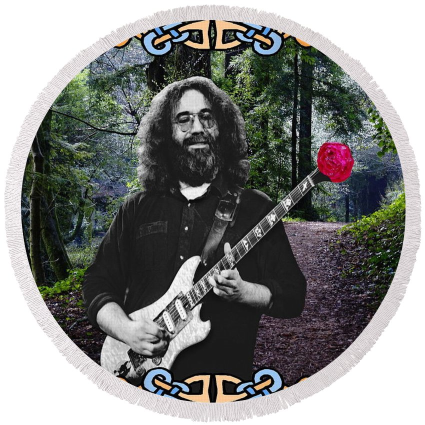 Jerry Garcia Round Beach Towel featuring the photograph Jerry Road Rose 1 by Ben Upham