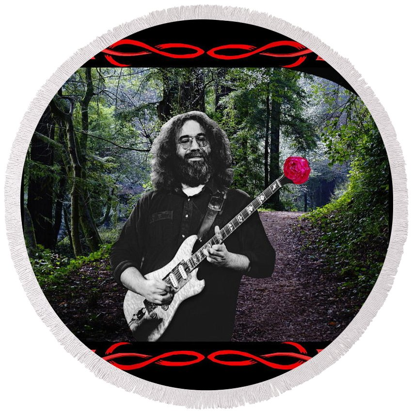 Jerry Garcia Round Beach Towel featuring the photograph Jerry Road Rose 2 by Ben Upham