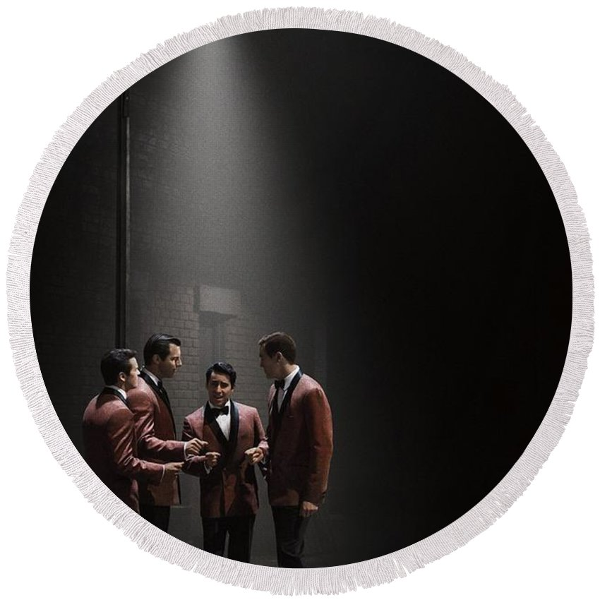 Jersey Boys Round Beach Towel featuring the photograph Jersey Boys By Clint Eastwood by Movie Poster Prints