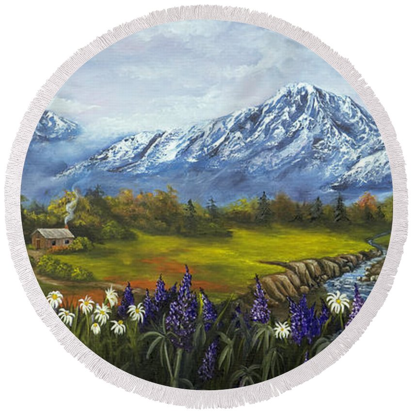 Landscape Round Beach Towel featuring the painting Jessy's View by Darice Machel McGuire