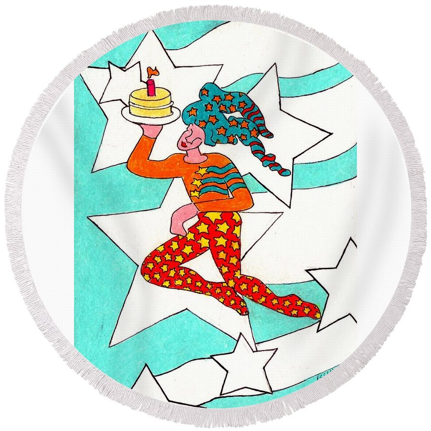 Jester Round Beach Towel featuring the painting Jester With Cake by Genevieve Esson