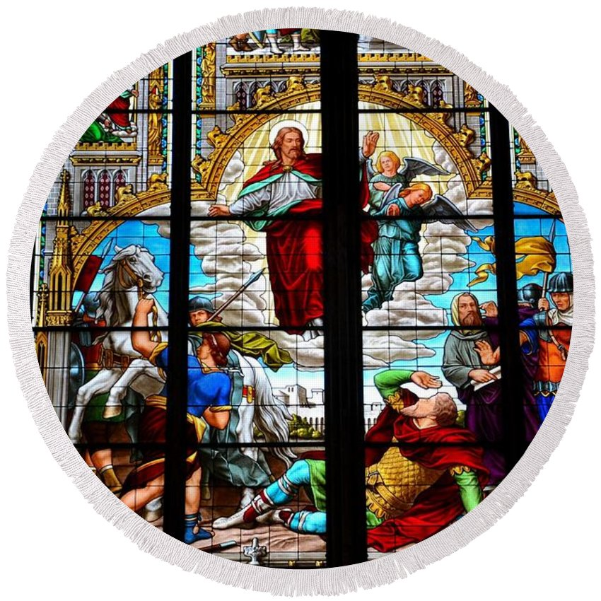 Jesus Round Beach Towel featuring the photograph Jesus Angels Stained Glass Painting Inside Cologne Cathedral Germany by Imran Ahmed