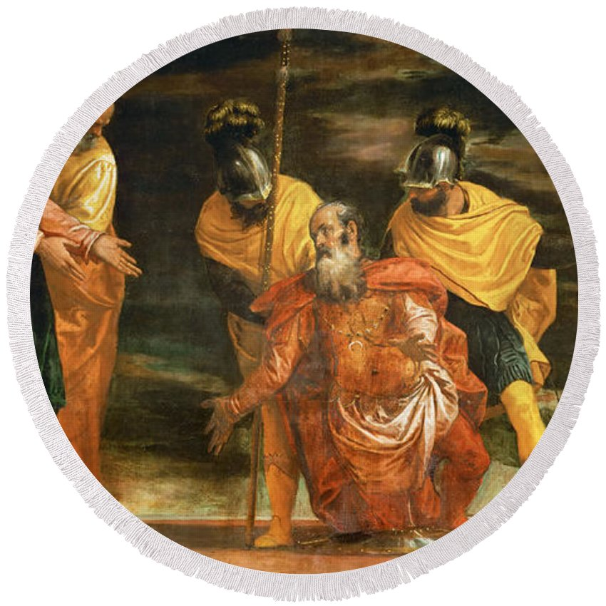Paolo Veronese Round Beach Towel featuring the painting Jesus Healing The Servant Of A Centurion by Paolo Veronese