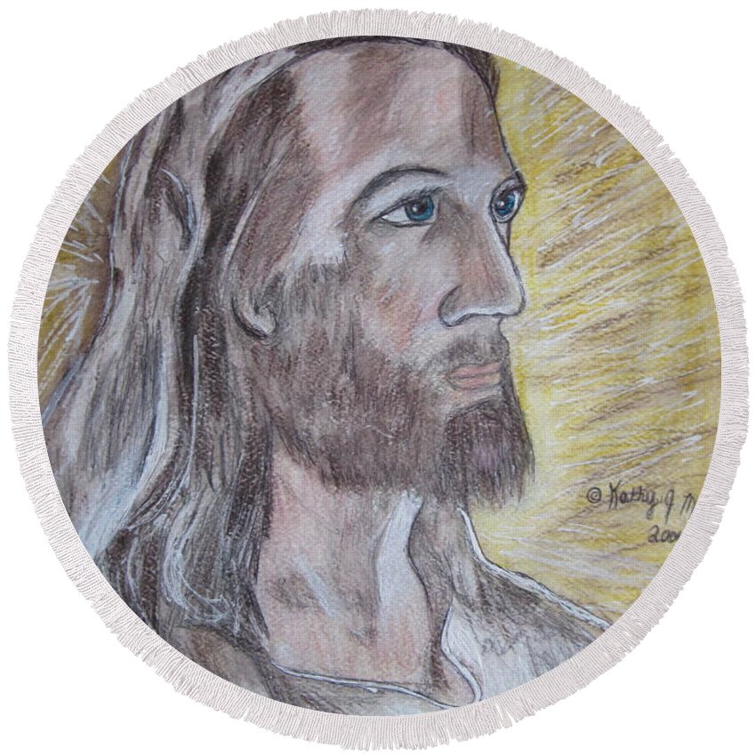 Jesus Round Beach Towel featuring the painting Jesus by Kathy Marrs Chandler