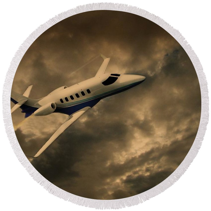 Jet Round Beach Towel featuring the photograph Jet Through The Clouds by David Dehner