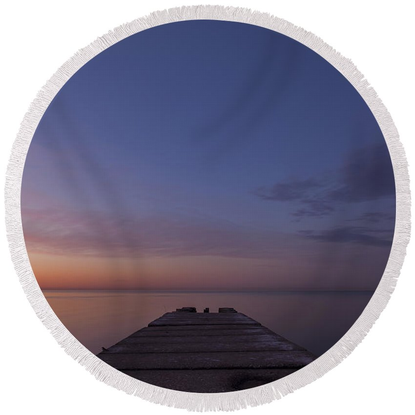 Www.cjschmit.com Round Beach Towel featuring the photograph Jetty Into The Light by CJ Schmit