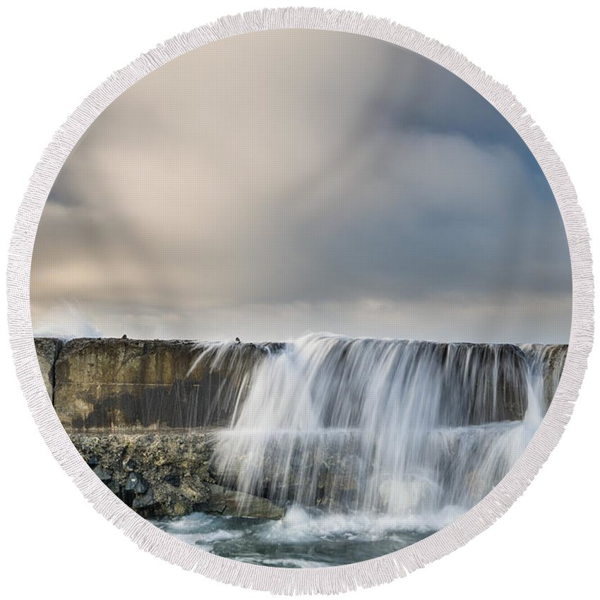Humboldt Bay Round Beach Towel featuring the photograph Jetty Spillover Waterfall by Greg Nyquist