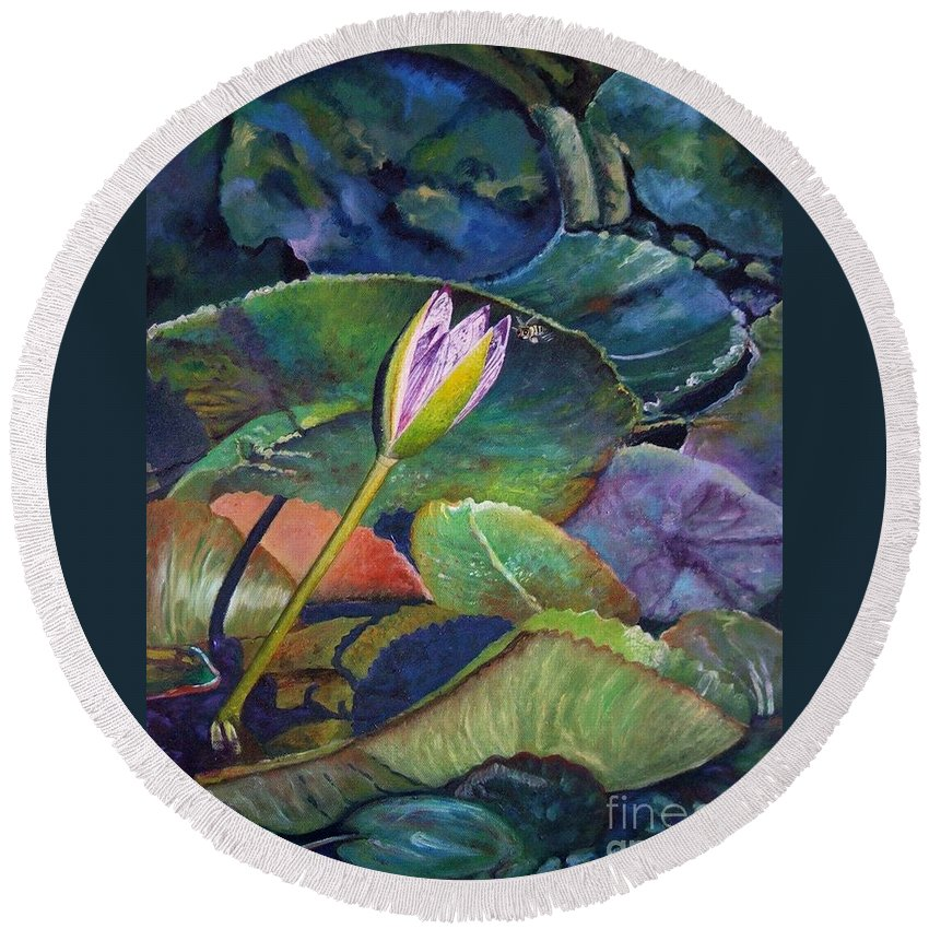 Water-lily Round Beach Towel featuring the painting Jewel by Caroline Street