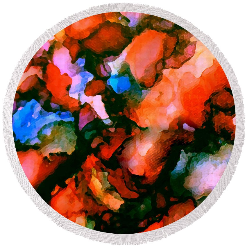 Abstract Round Beach Towel featuring the painting Jeweltones by Art by Kar
