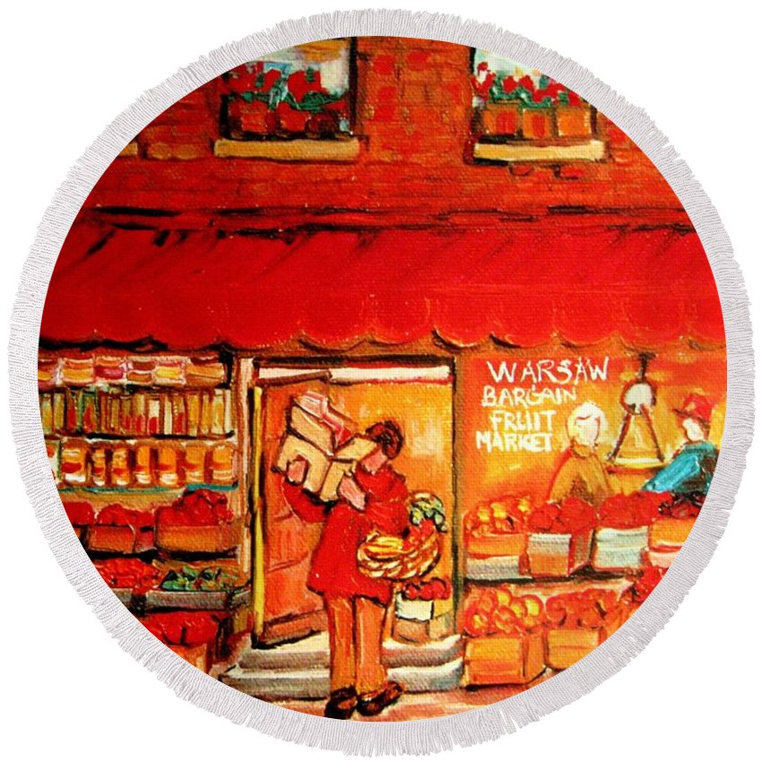 Warshaw's Fruit Market Round Beach Towel featuring the painting Jewish Culture In Montreal Paintings Of Warshaw's Fruit Store On St.lawrence Street Scene Art by Carole Spandau