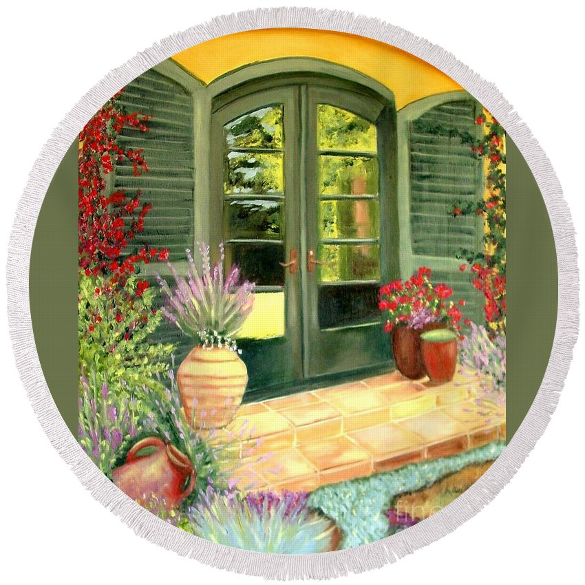 Shutters Round Beach Towel featuring the painting Jill's Patio by Laurie Morgan