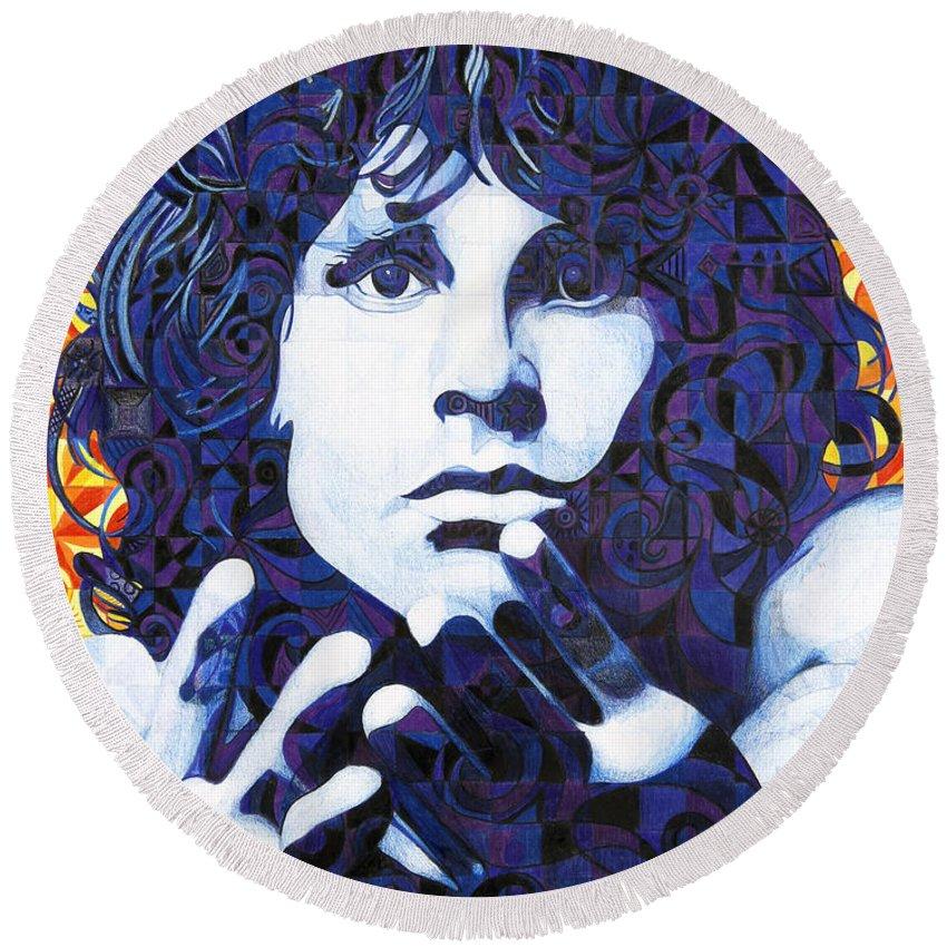 Jim Morrison Round Beach Towel featuring the drawing Jim Morrison Chuck Close Style by Joshua Morton