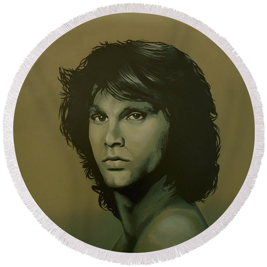 Jim Morrison Round Beach Towel featuring the painting Jim Morrison Painting by Paul Meijering