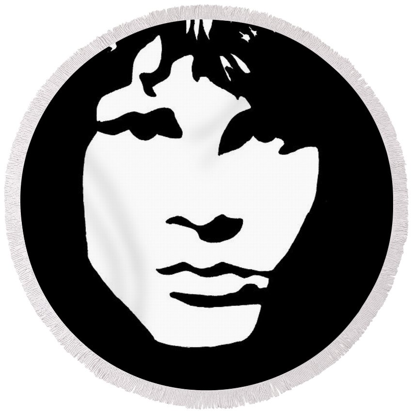 Black White Round Beach Towel featuring the drawing Jim Morrison by Yael Rosen