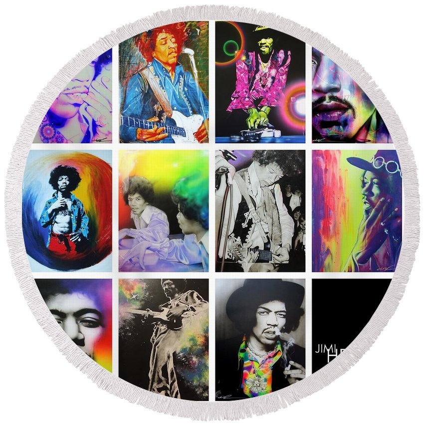 Jimi Hendrix Round Beach Towel featuring the painting Jimi Collage by Christian Chapman Art