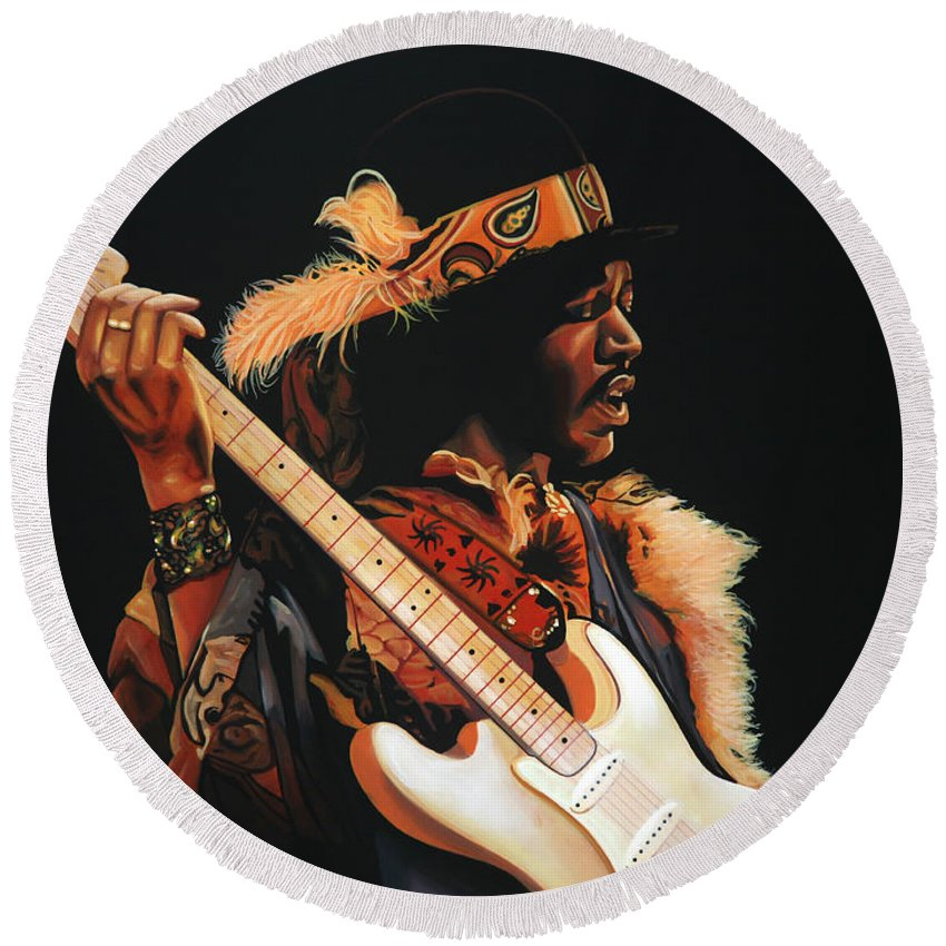 Jimi Hendrix Round Beach Towel featuring the painting Jimi Hendrix 3 by Paul Meijering