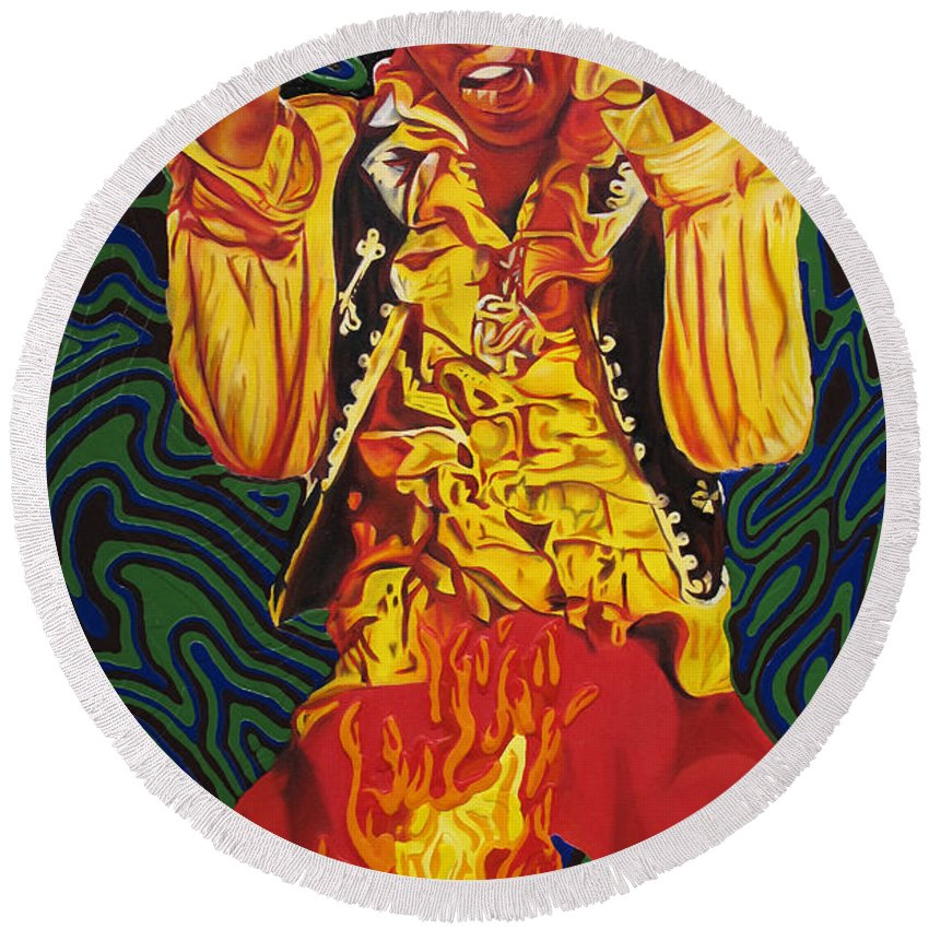 Jimi Hendrix Round Beach Towel featuring the painting Jimi Hendrix Fire by Joshua Morton