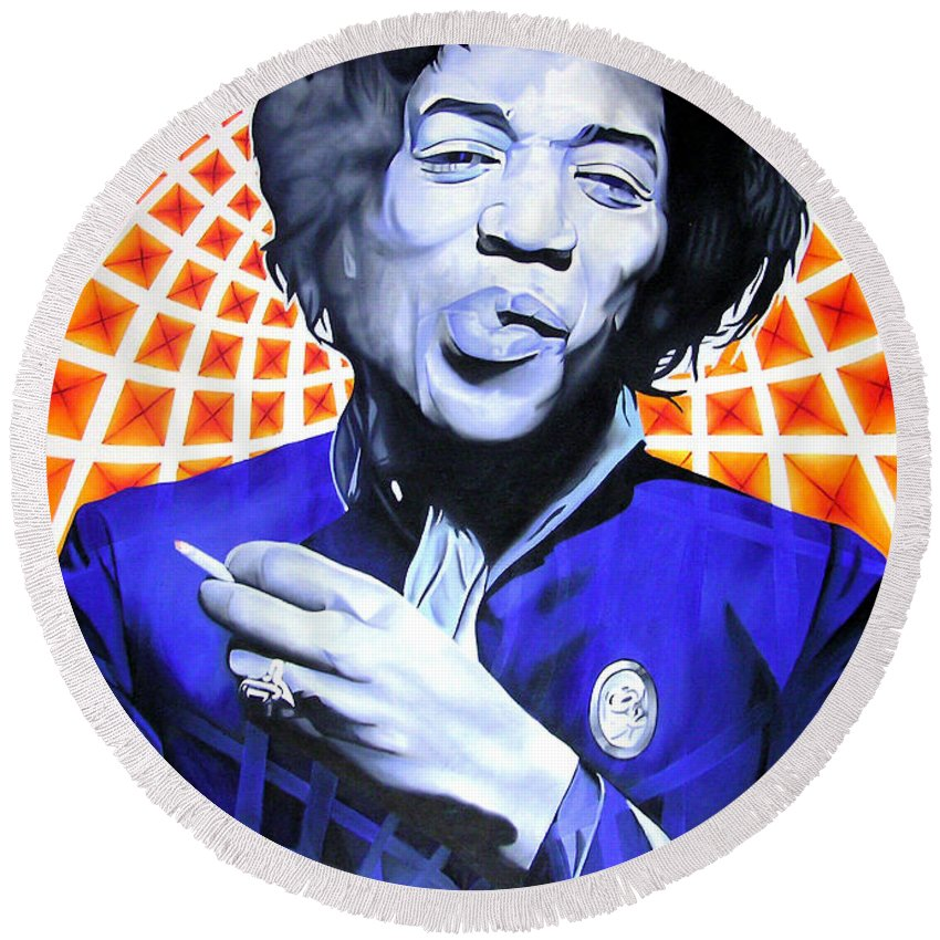 Jimi Hendrix Round Beach Towel featuring the painting Jimi Hendrix-orange And Blue by Joshua Morton