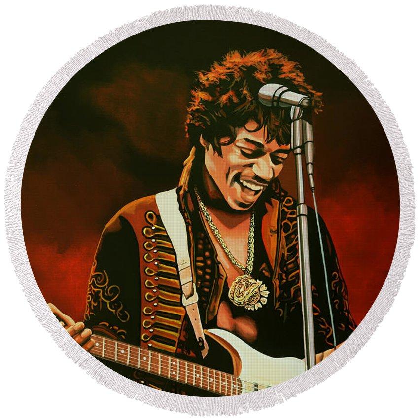 Rock Guitarist Art Jimi Hendrix Round Beach Towels