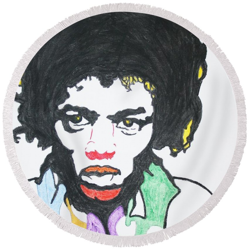 Jimi Hendrix Round Beach Towel featuring the painting Jimi Hendrix by Stormm Bradshaw