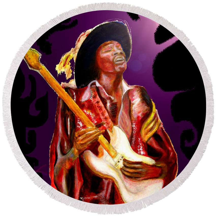 Rock Round Beach Towel featuring the painting Jimi Hendrix Variations In Purple And Black by Tom Conway