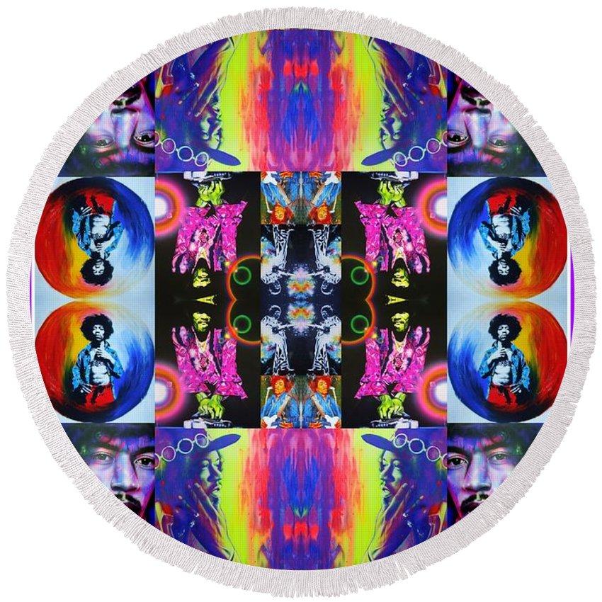 Jimi Hendrix Round Beach Towel featuring the painting Jimi Kaleidoscope I by Christian Chapman Art