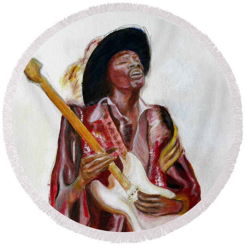 Jimi Hendrix Round Beach Towel featuring the painting Jimi by Tom Conway