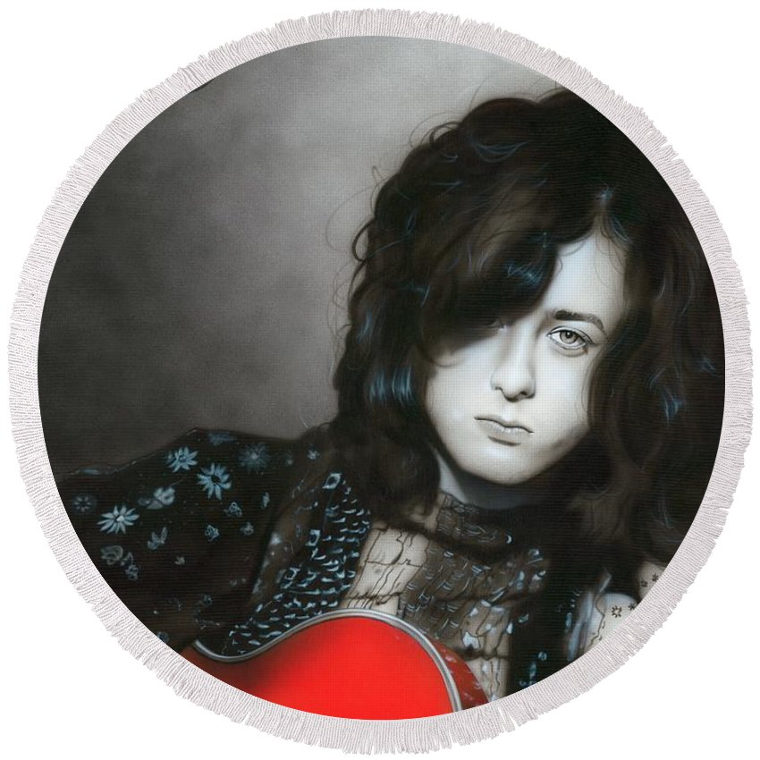 Jimmy Page Round Beach Towel featuring the painting Jimmy Page by Christian Chapman Art