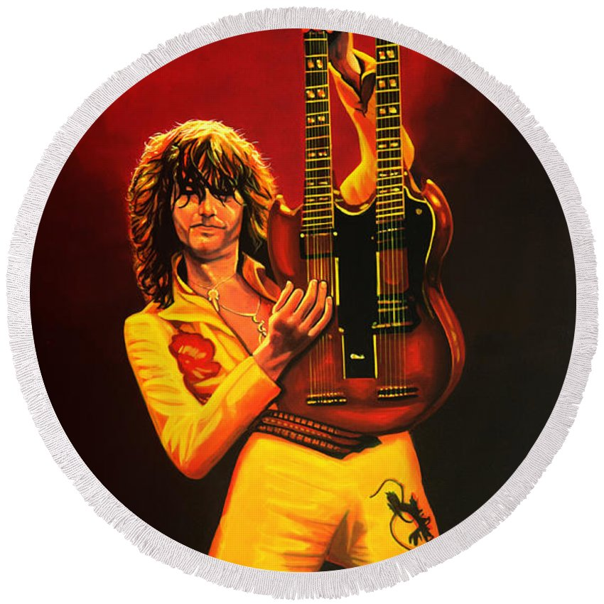 Jimmy Page Round Beach Towel featuring the painting Jimmy Page Painting by Paul Meijering