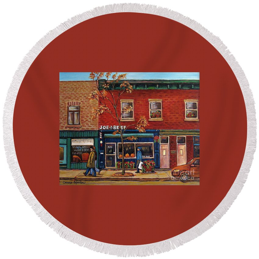 Montreal Round Beach Towel featuring the painting Joe Beef Restaurant Montreal by Carole Spandau