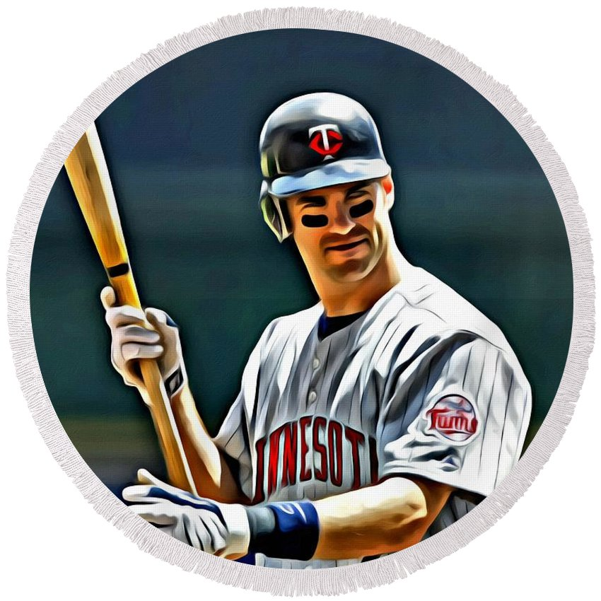 Mlb Round Beach Towel featuring the painting Joe Mauer Painting by Florian Rodarte