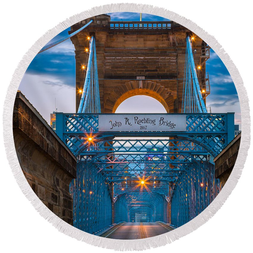 America Round Beach Towel featuring the photograph John A. Roebling Suspension Bridge by Inge Johnsson