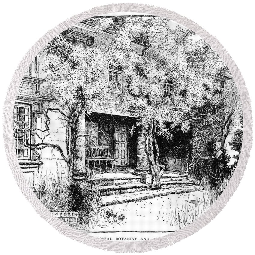 1731 Round Beach Towel featuring the drawing John Bartram House by Granger