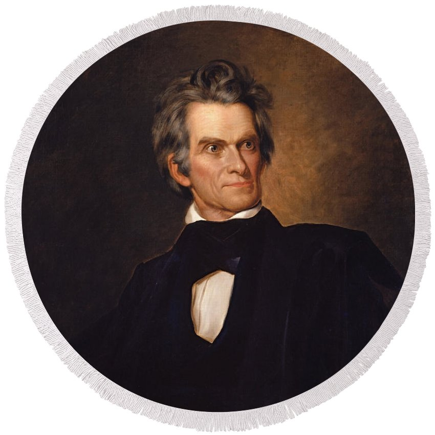 Painting Round Beach Towel featuring the painting John C Calhoun by Mountain Dreams