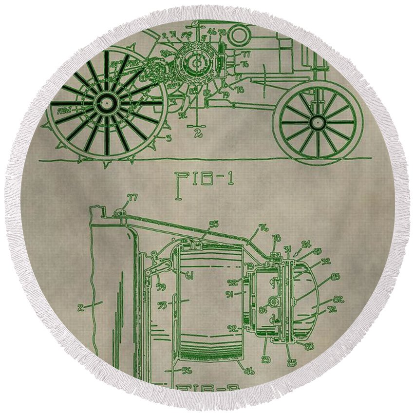 John Deere Tractor Patent Round Beach Towel featuring the digital art John Deere Patent by Dan Sproul