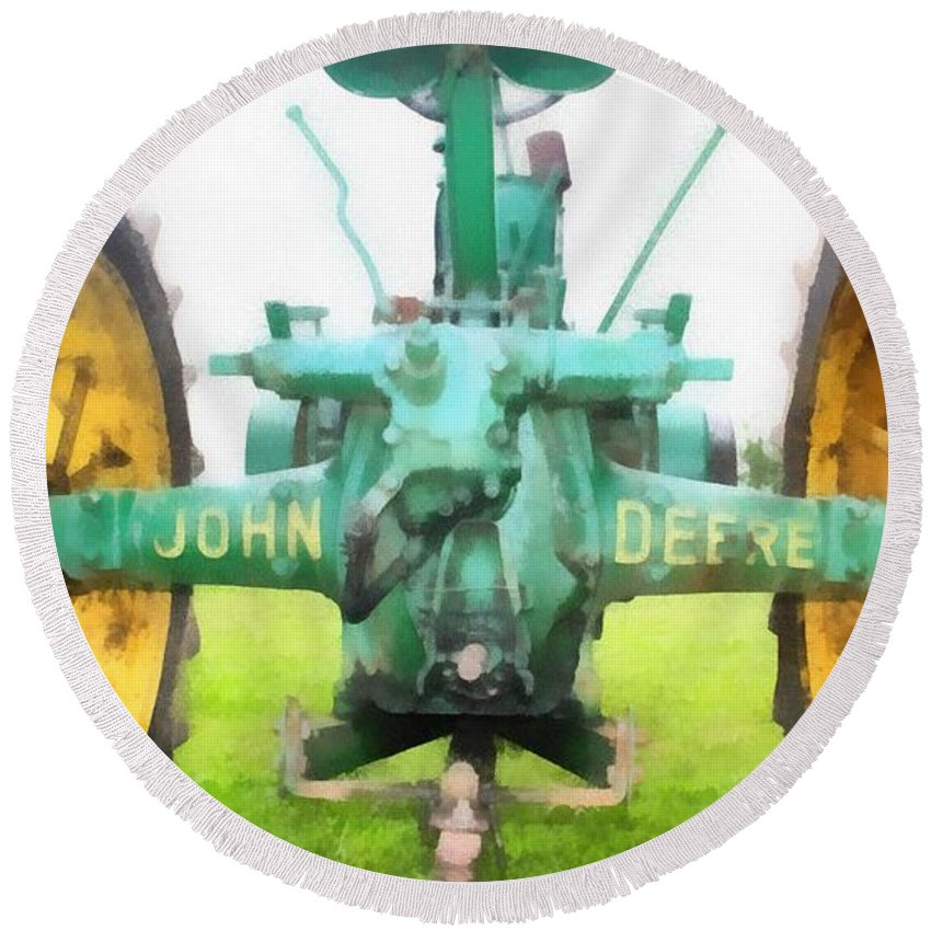 John Deere Tractor Round Beach Towel featuring the painting John Deere Tractor by Dan Sproul