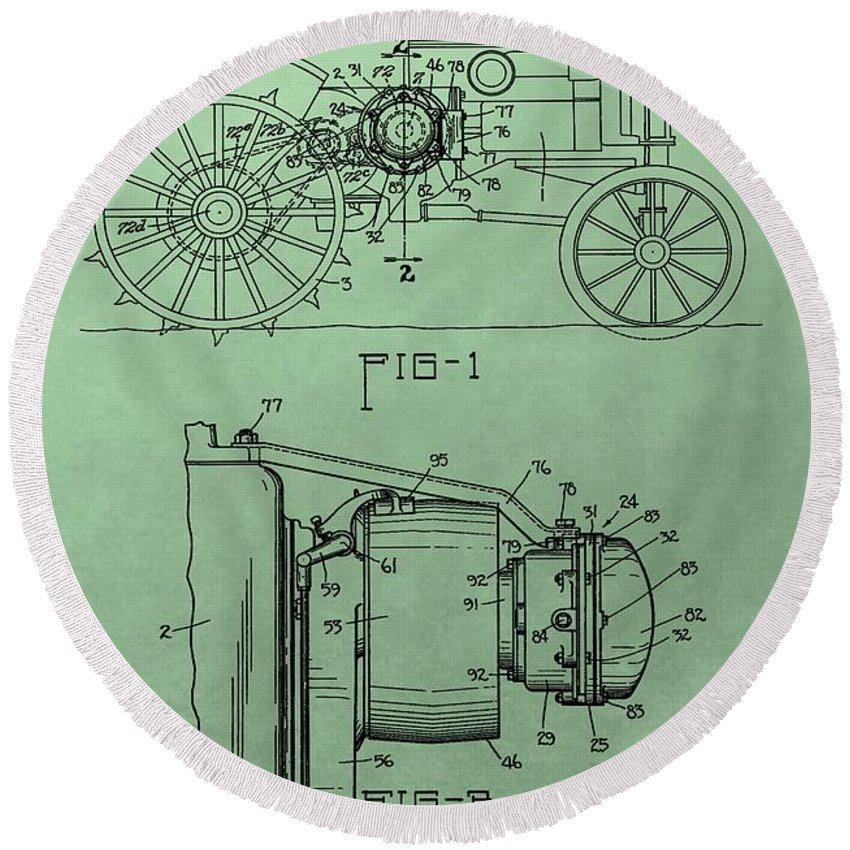 John Deere Tractor Patent Round Beach Towel featuring the digital art John Deere Tractor Patent by Dan Sproul