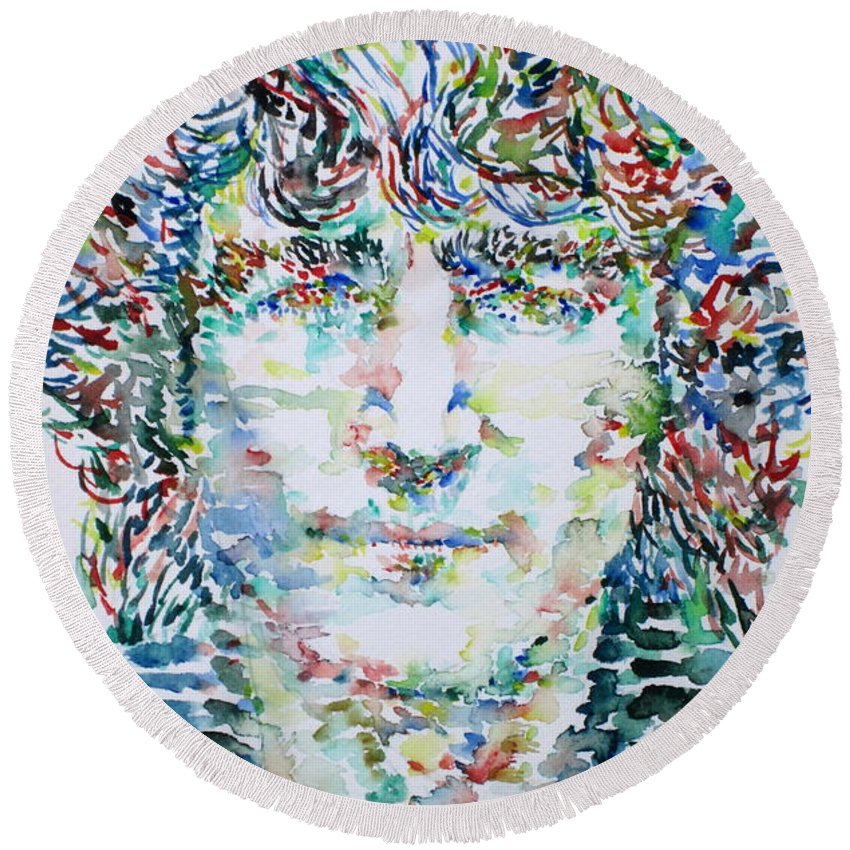 The Round Beach Towel featuring the painting John Lennon Portrait.1 by Fabrizio Cassetta