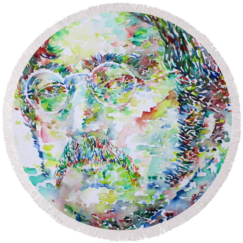 The Round Beach Towel featuring the painting John Lennon Portrait.2 by Fabrizio Cassetta